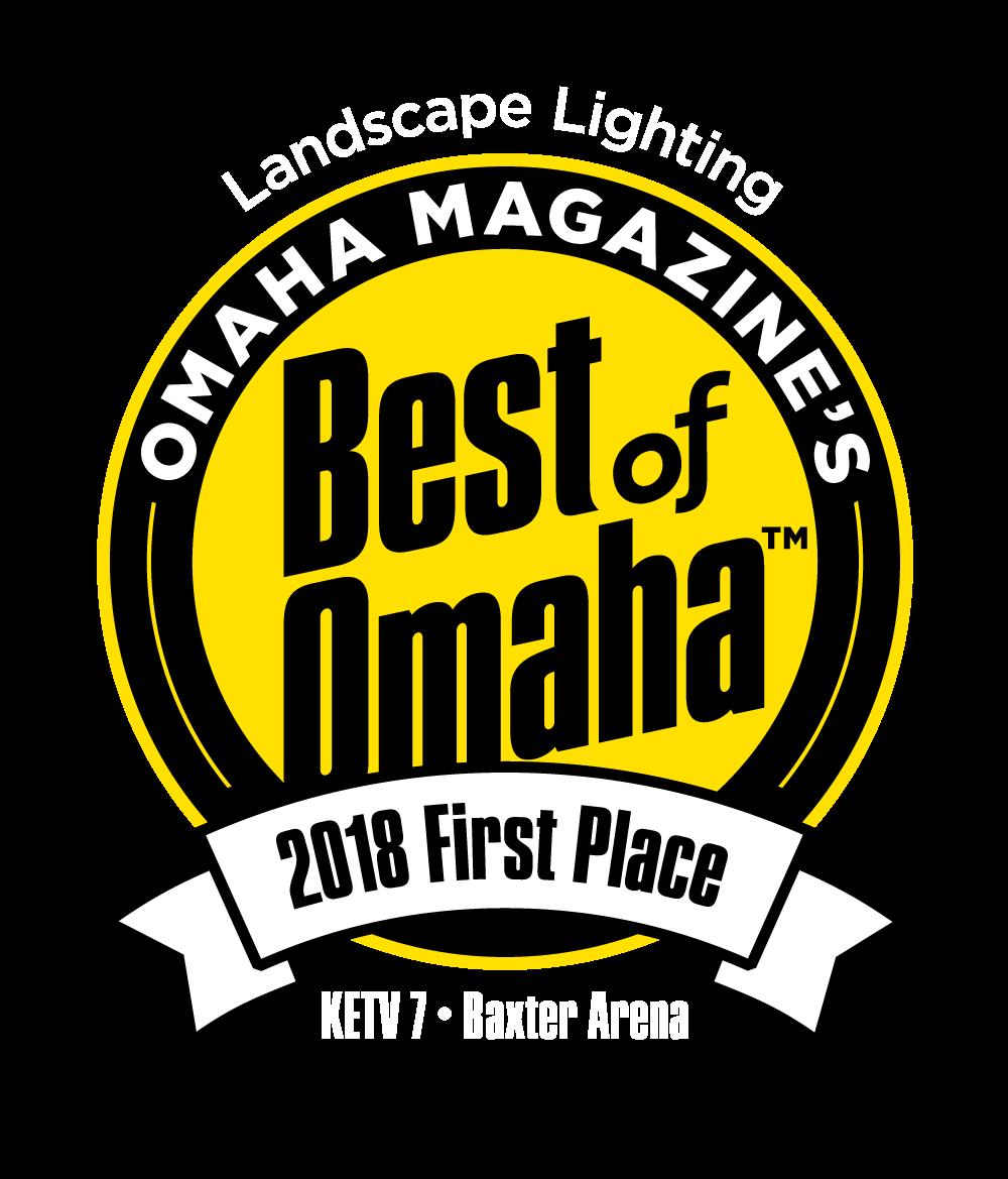 2018 best of omaha, best outdoor lighting company - first place mckay landscape lighting, nebraska