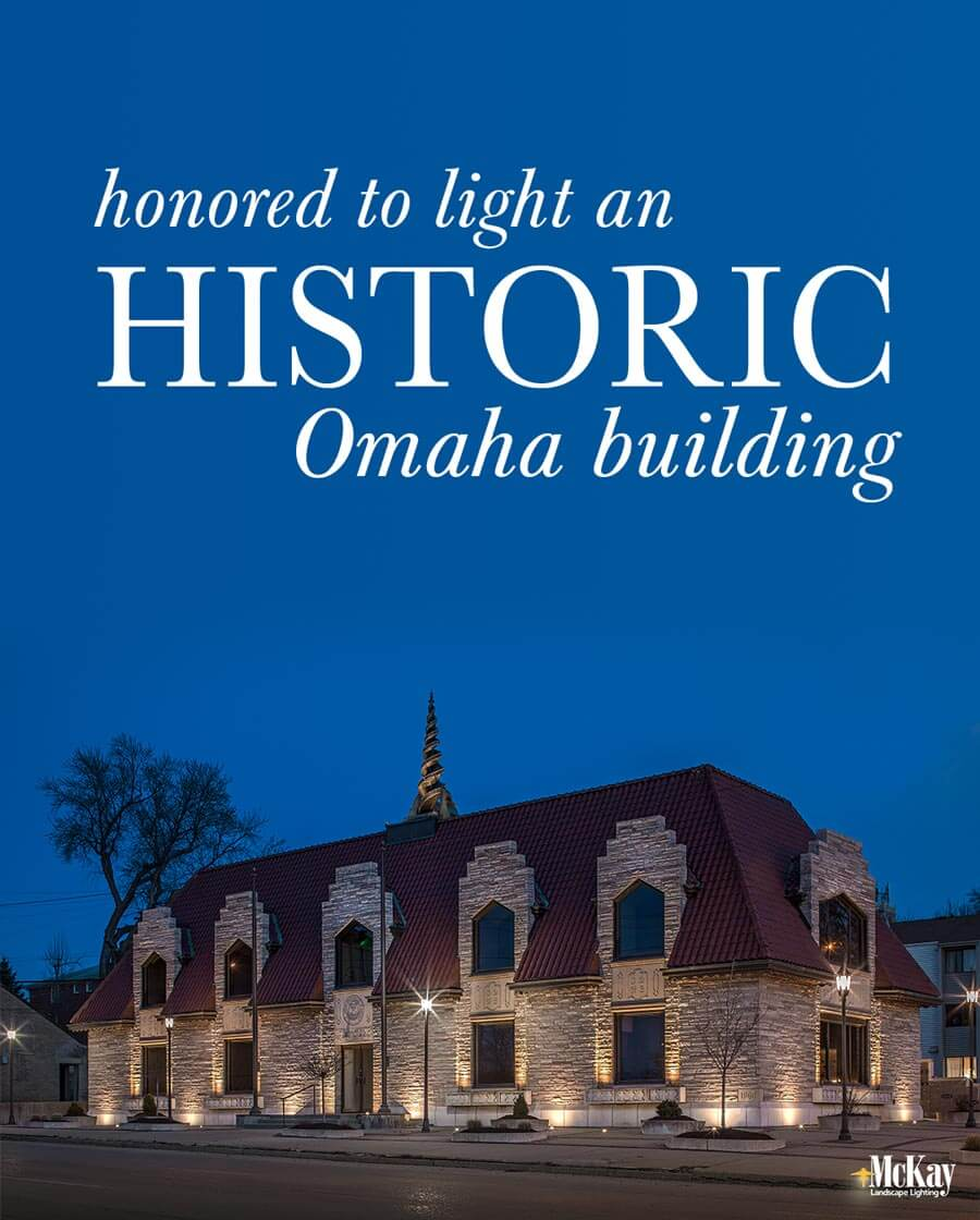 We are honored to have had the opportunity to light this historic building, enhancing its unique architectural features and increasing safety.  Learn more about the commercial outdoor lighting design... | McKay Landscape Lighting Omaha, Nebraska