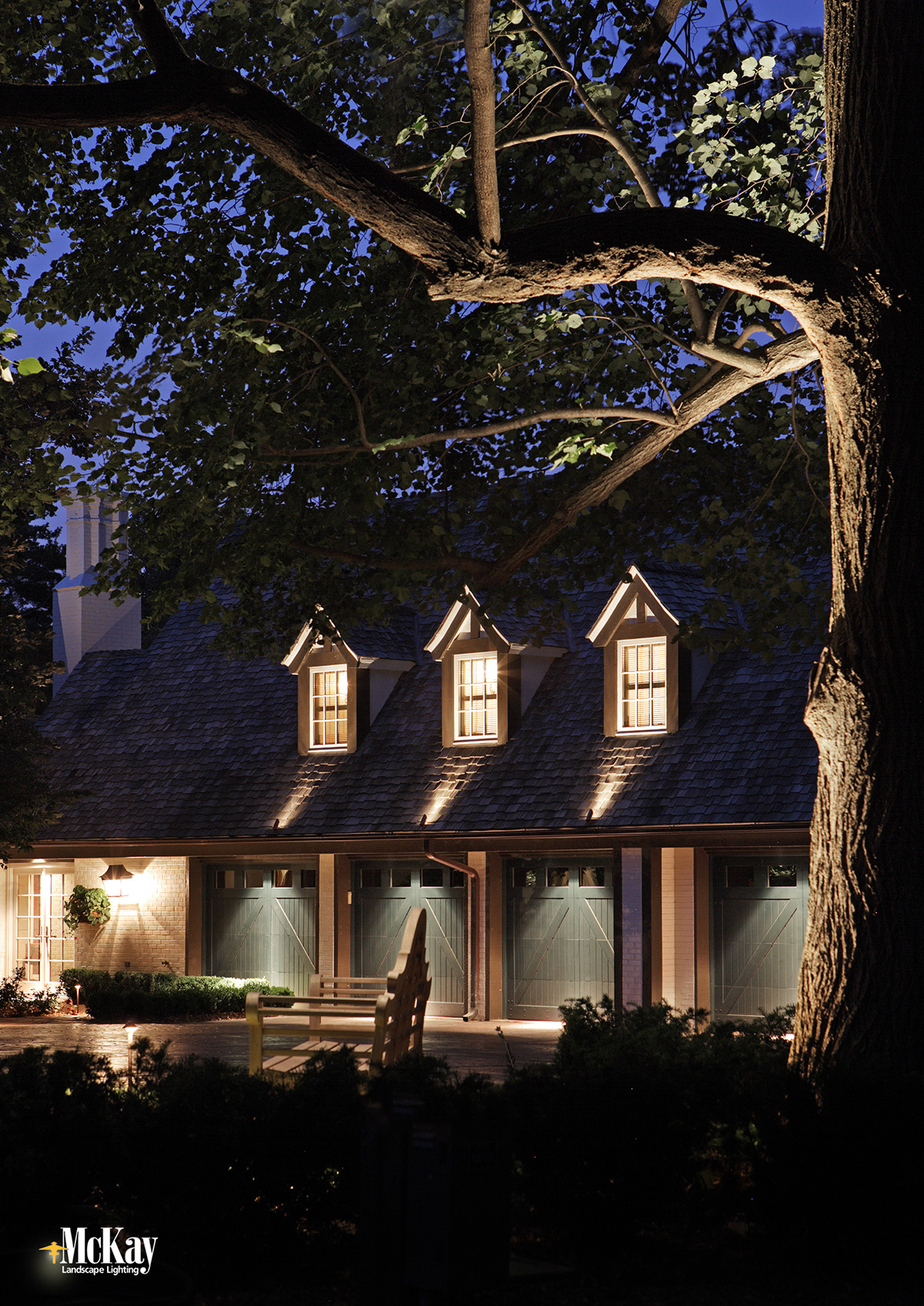 Draw Attention to Unique Features with Landscape Lighting. Find out how to dress up your garage dormers and more.... | McKay Landscape Lighting - Omaha, Nebraska