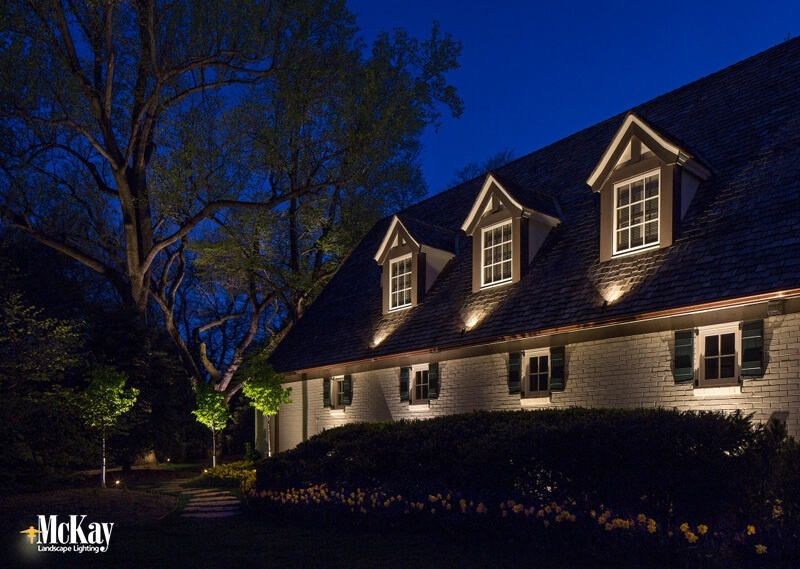 Garage Dormer Lighting Omaha, Nebraska - click to learn more about this landscape lighting design... | McKay Landscape Lighting