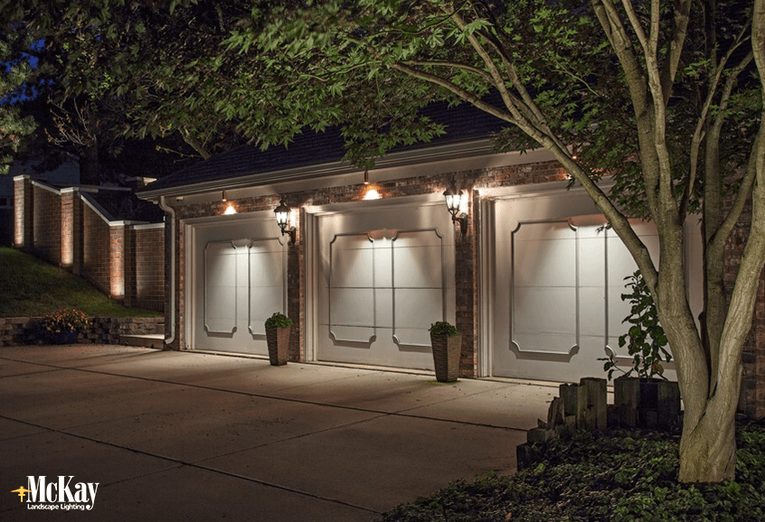 Lighting your garage to balance out existing lighting, click to learn more.. | McKay Landscape Lighting - Omaha, Nebraska