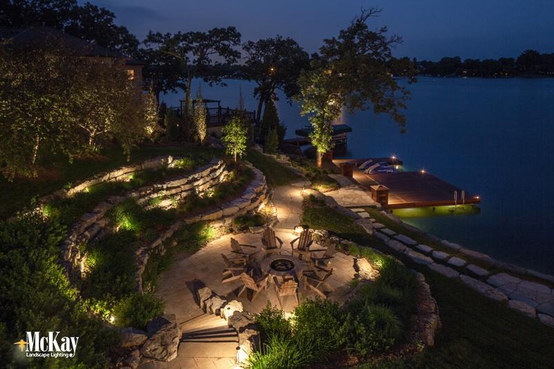 Fire Pit Lake House Lighting