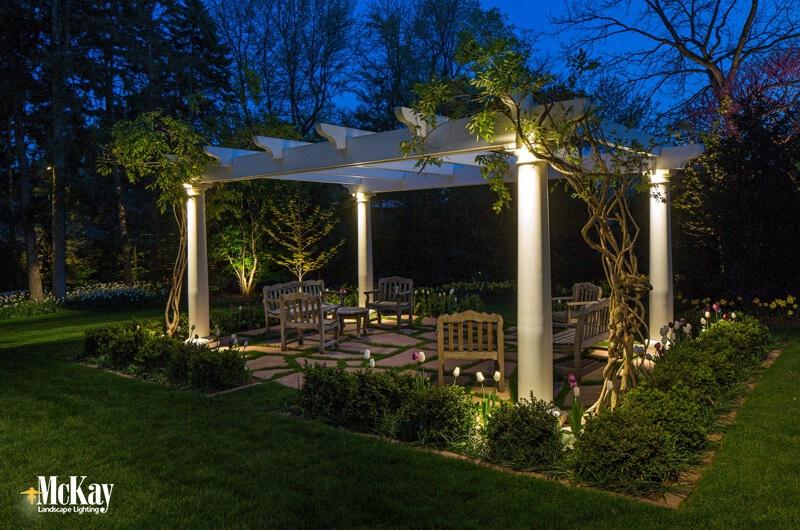 Pergola Lighting Omaha, Nebraska, click to learn more about this outdoor lighting design...   McKay Landscape Lighting