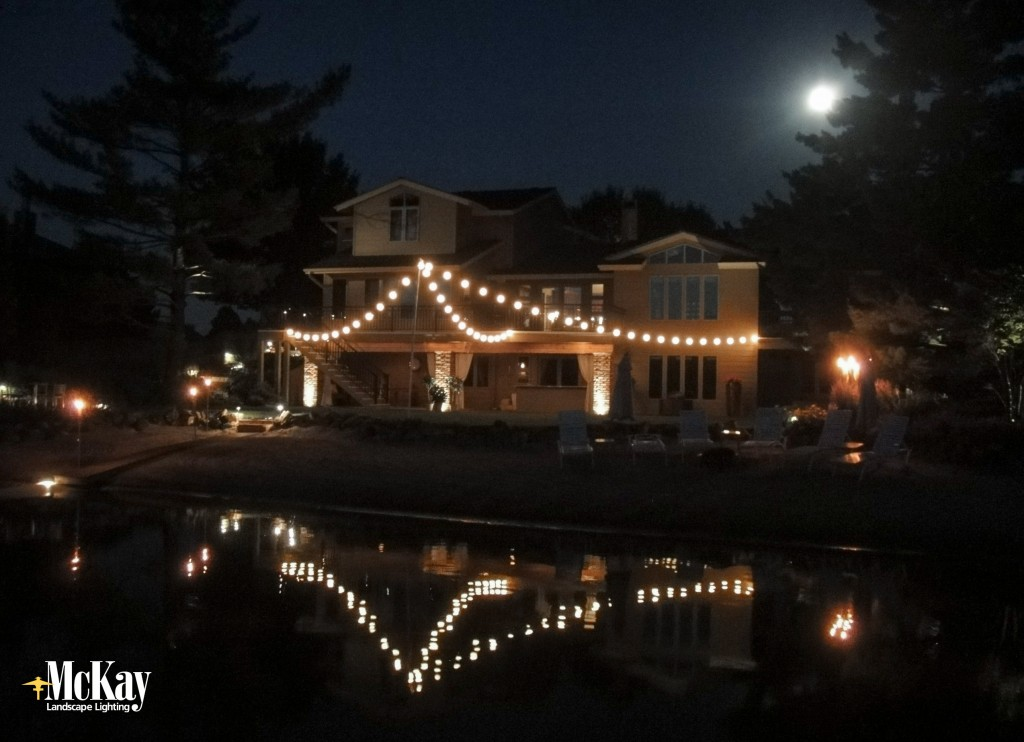 Lakefront backyard with outdoor string lights nebraska