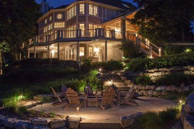 Outdoor and Landscape Lighting around Fire pit and Pathway Omaha Nebraska