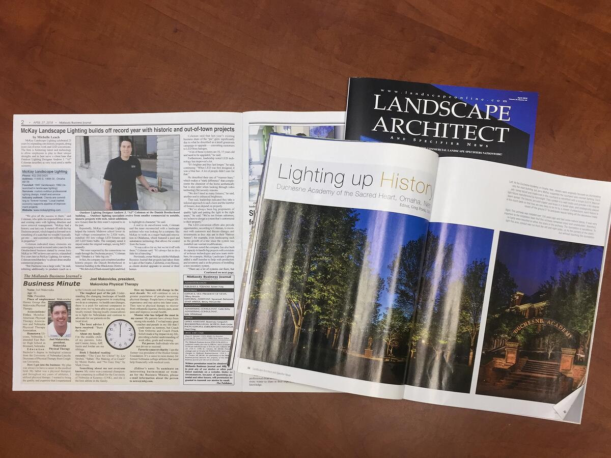 During the month of April, we are honored and excited to be featured in a local and a few national publications. Keep reading to learn more about each article...  | McKay Landscape Lighting - Omaha Nebraska