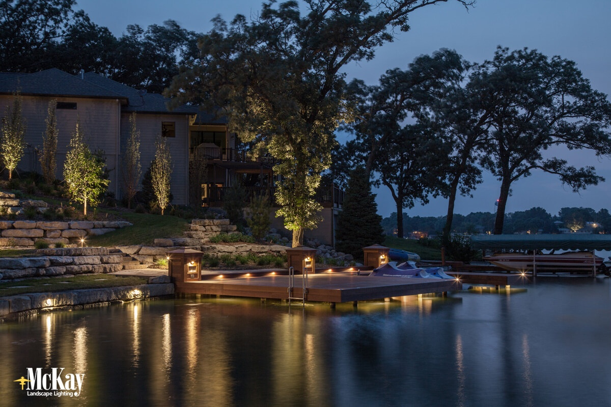 Effective dock lighting should increase the beauty of your lake home while increasing nighttime safety.  Learn more about proper dock lighting - McKay Landscape Lighting Omaha, Nebraska