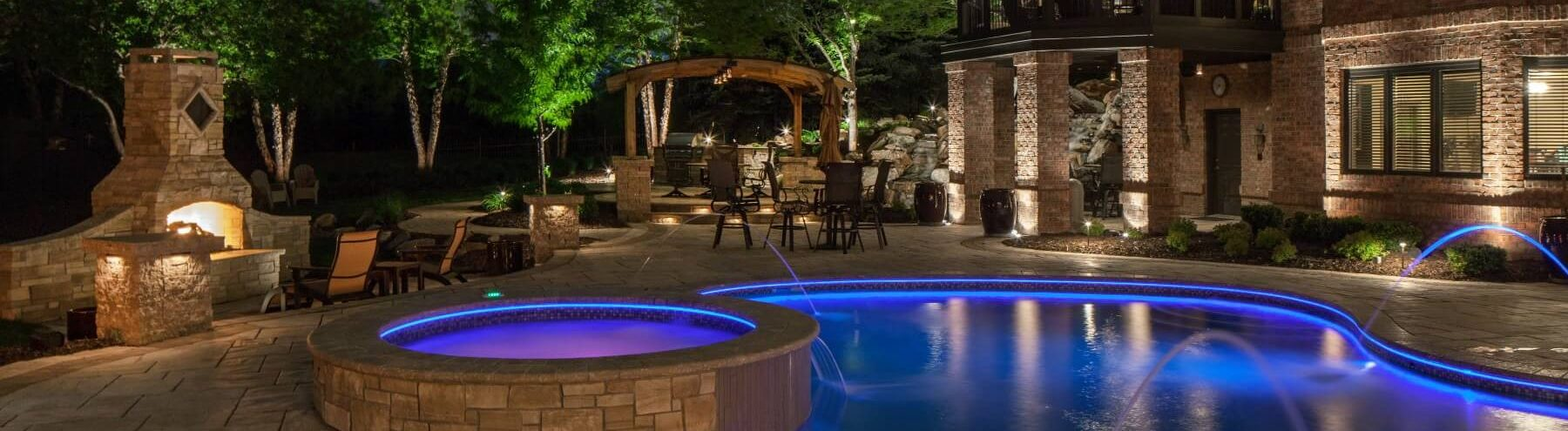 Pool landscape lighting mckay landscape lighting for Pool design omaha