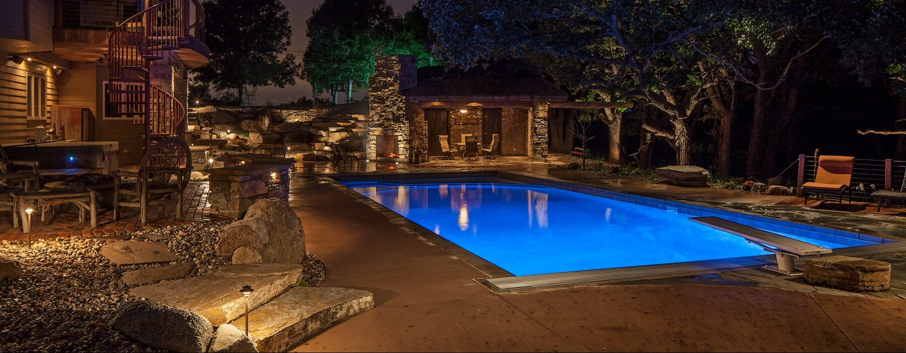 on fountain living water bpi outdoor featured custom gallery backyard spaces indianapolis lighting