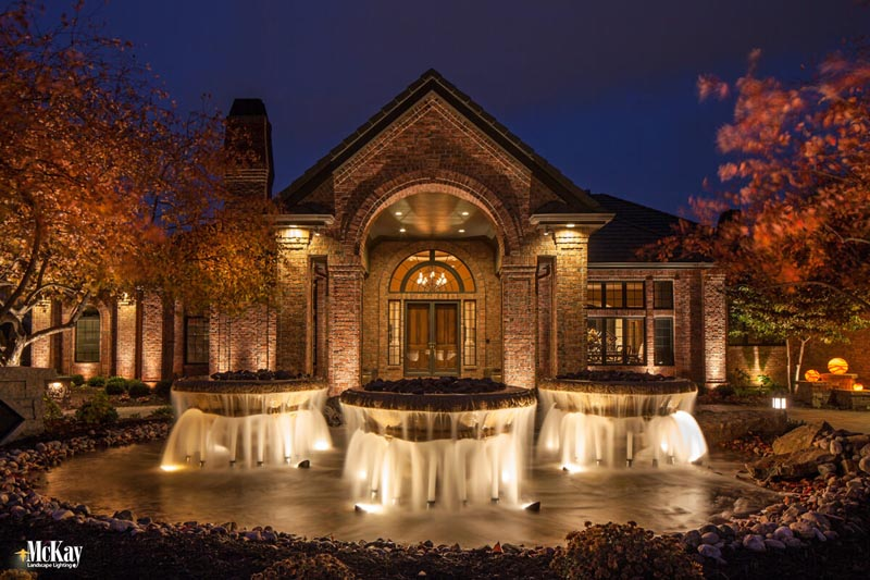 Water features are more complicated to lighting than other areas of the home since water plays a major factor and fixtures are often submersed into the water. Click to read more.. | McKay Landscape Lighting - Omaha, Nebraska