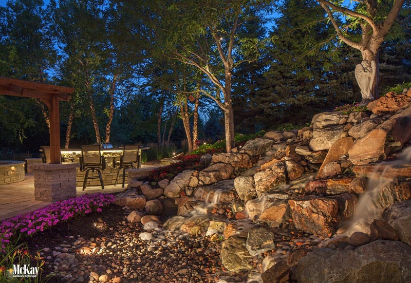 Landscape Lighting Water Features | Click to see some of our favorite landscape lighting projects with water features... | McKay Landscape Lighting - Omaha, Nebraska