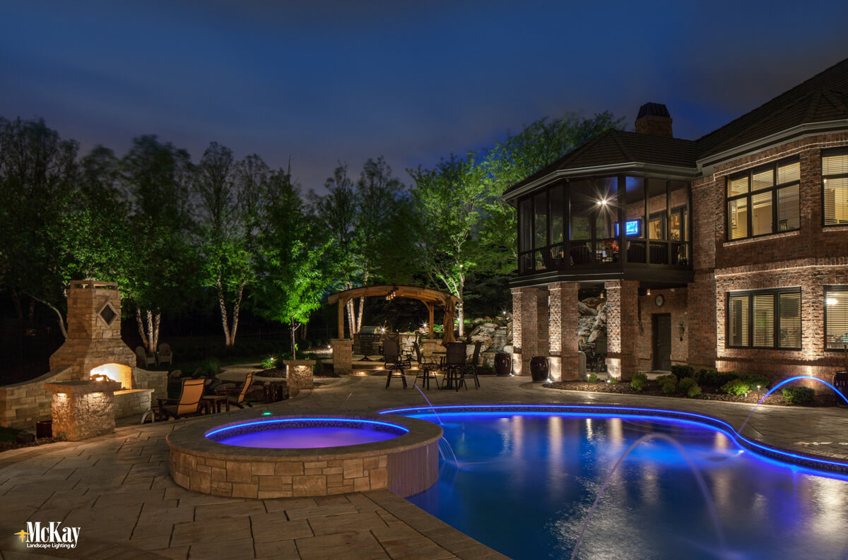 An expertly lit pool area will allow you to enjoy more of these long, leisurely summer evenings spent utilizing your pool | McKay Landscape Lighting, Omaha Nebraska