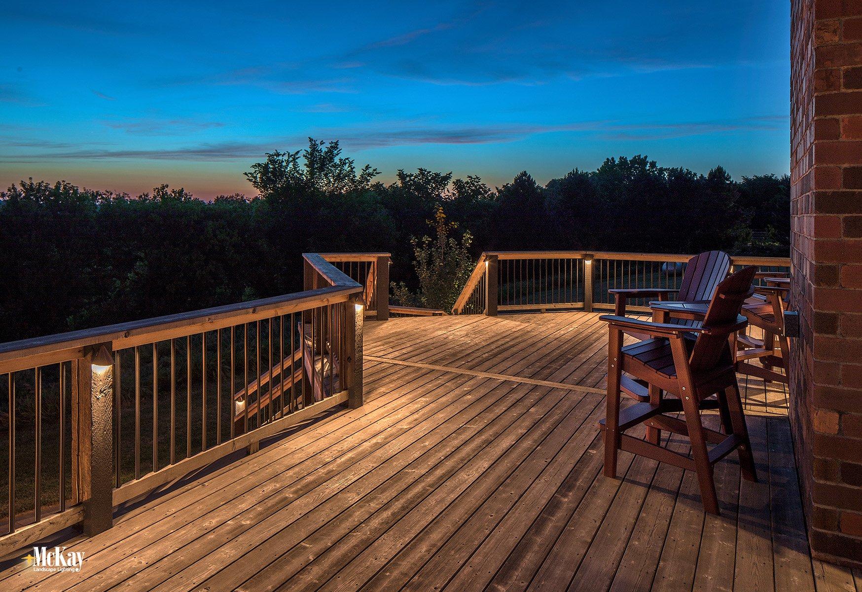 Outdoor Lighting Design Techniques: Deck Post Lighting Omaha Nebraska McKay Landscape Lighting
