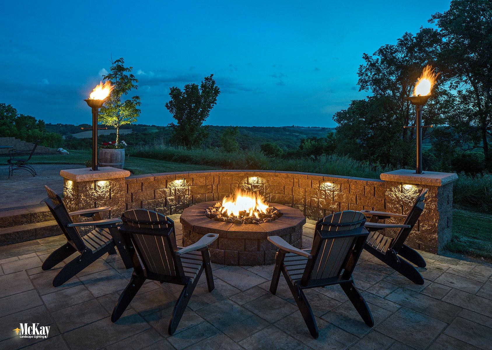 fire pit patio seat wall lighting omaha nebraska McKay Landscape Lighting B 03
