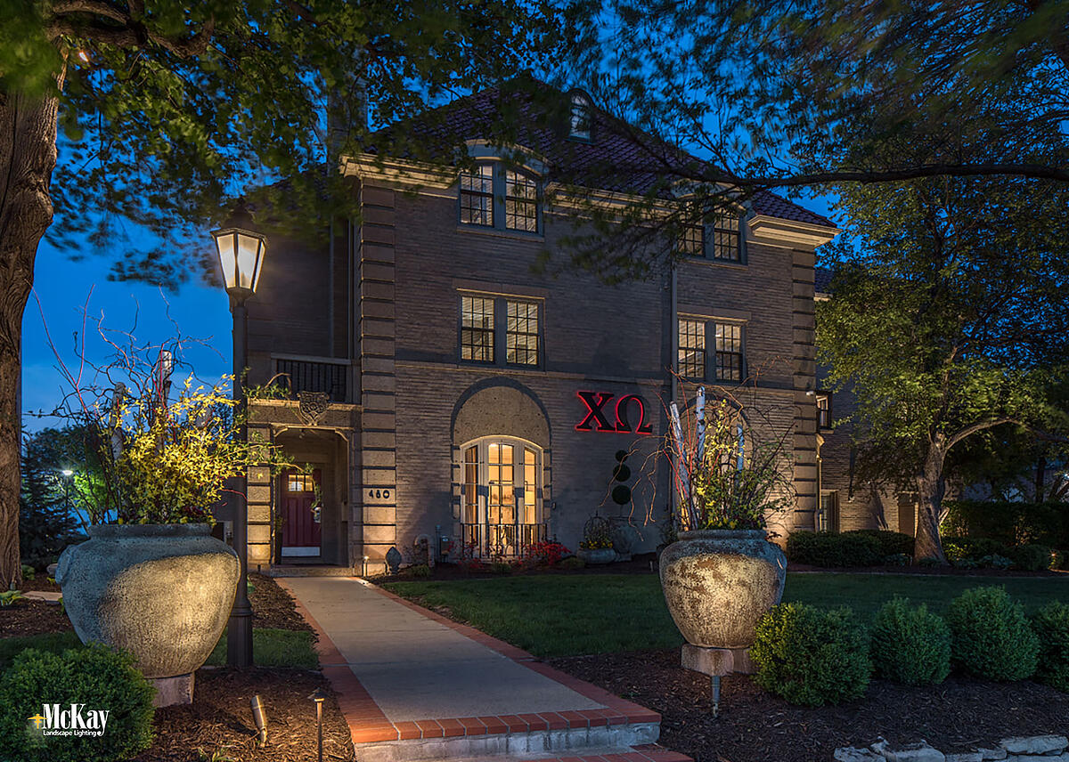 College Sorority Exterior Building Lighting Lincoln Nebraska McKay Landscape Lighting CHI 01