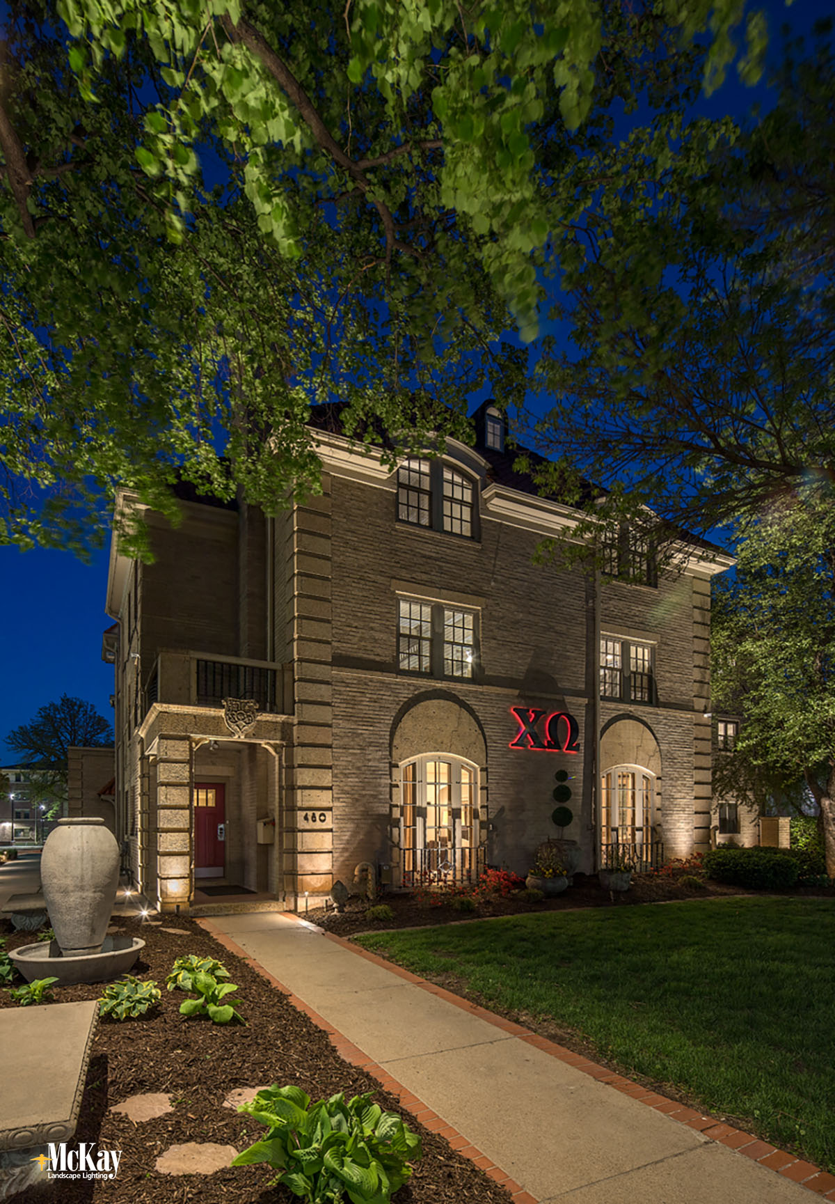 College Sorority Exterior Entrance Lighting Lincoln Nebraska McKay Landscape Lighting CHI 06