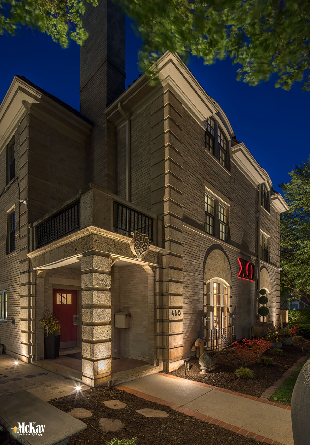 College Sorority Outdoor Architectural Lighting Lincoln Nebraska McKay Landscape Lighting CHI 05