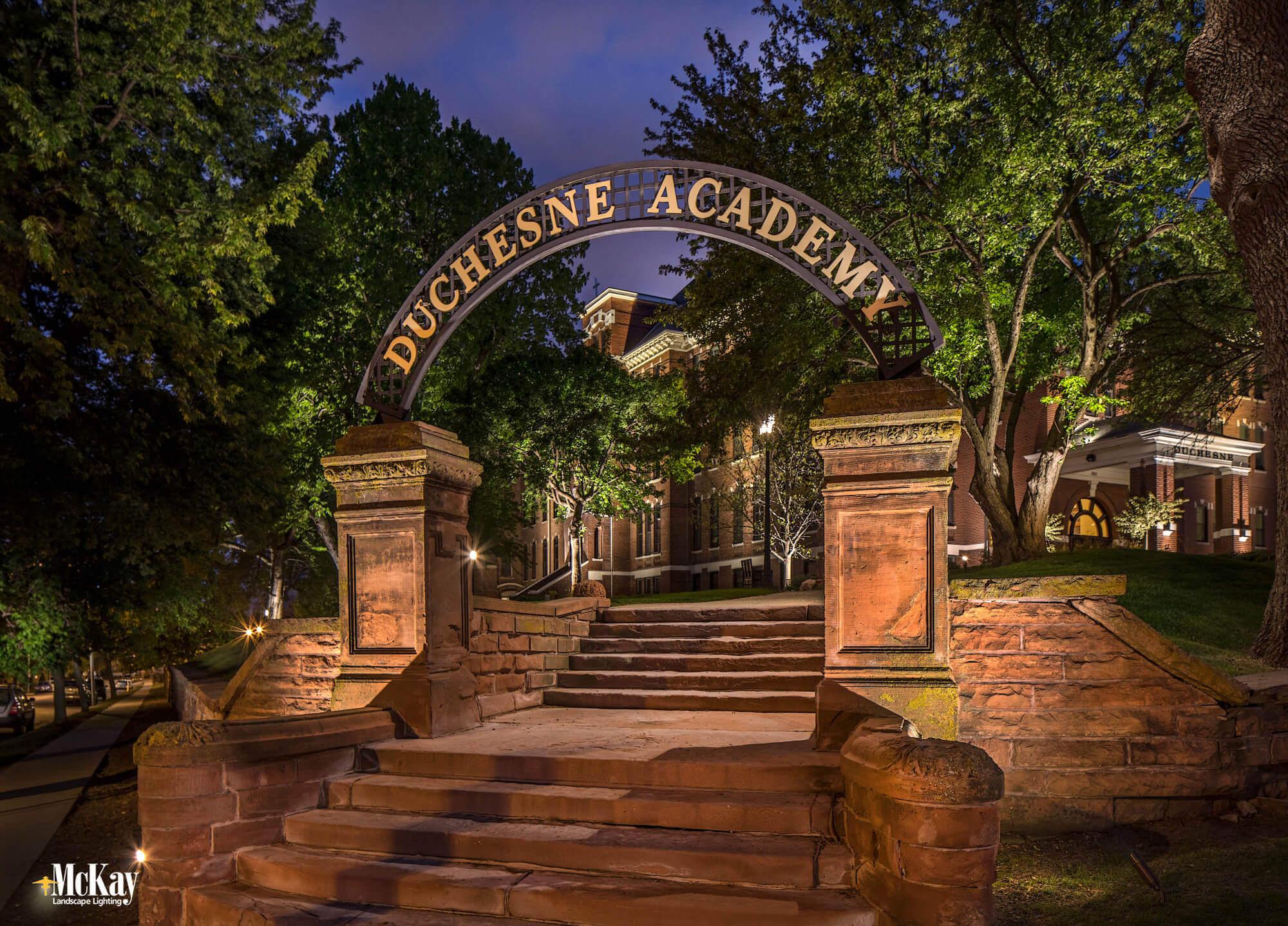 Exterior Stair Lighting Educational Facility Omaha Nebraska McKay Landscape Lighting DA 01