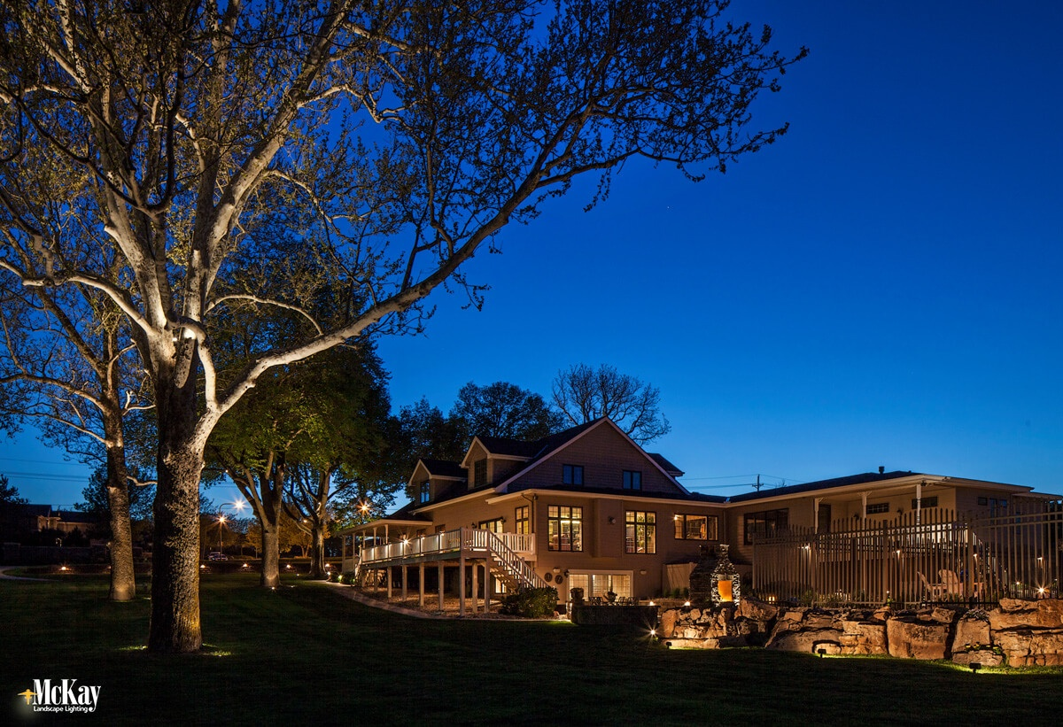 Lighting dark walkways and paths, landscaping, outdoor living areas, and outdoor structures gives your outdoor security lighting design a more comprehensive look while eliminating dark areas. Click to read more... | McKay Landscape Lighting - Omaha, Nebraska