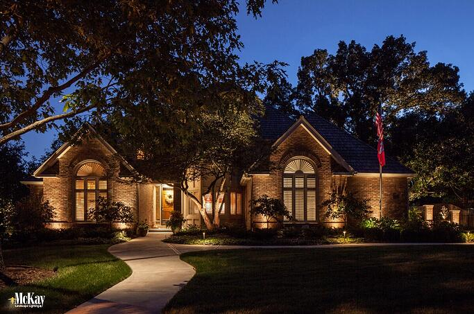 Show your patriotism by properly illuminating your American flag throughout the night. Learn more... | Mckay Landscpae Lighting Omaha Nebraska