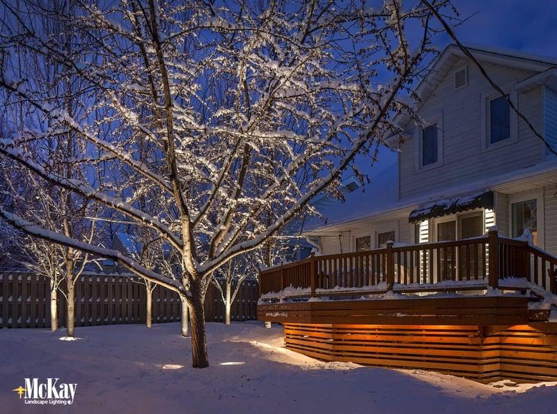 Backyard Deck Lighting in the Winter Omaha Nebraska McKay Landscape Lighting