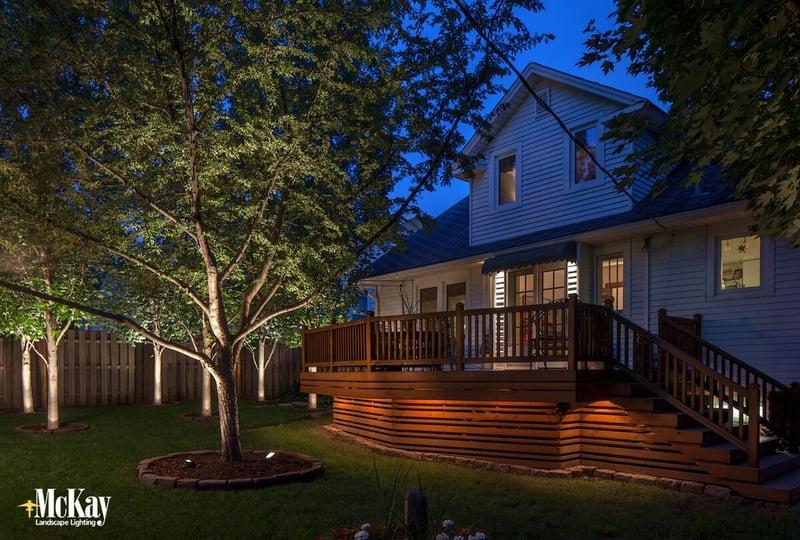 Backyard Deck Lighting in the Spring Omaha Nebraska McKay Landscape Lighting
