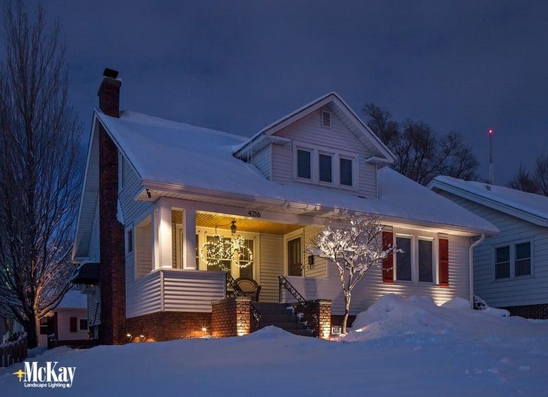 Residential Security Lighting in the Winter Omaha Nebraska McKay Landscape Lighting