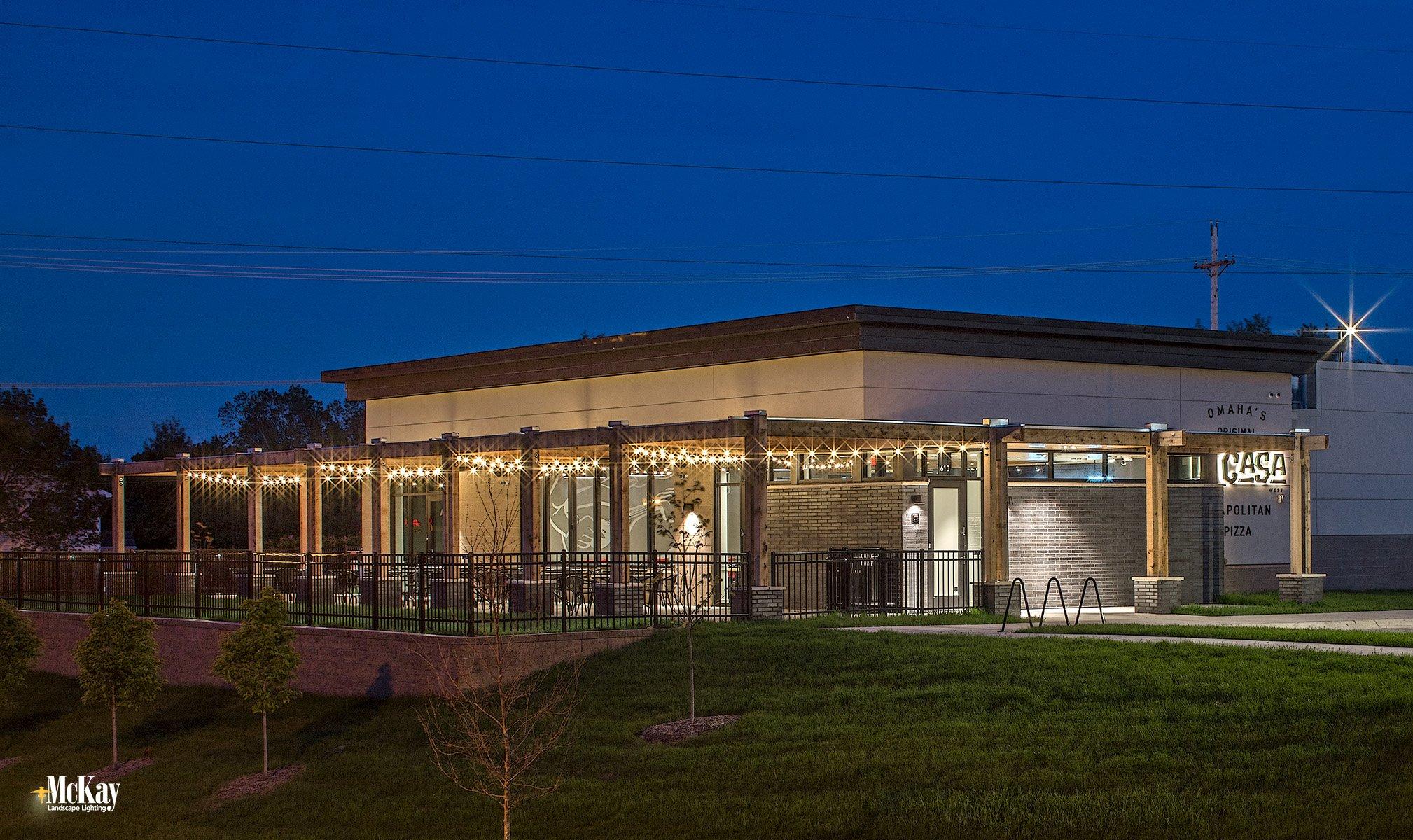 Outdoor restaurant patio string lighting omaha nebraska La Casa McKay Landscape Lighting