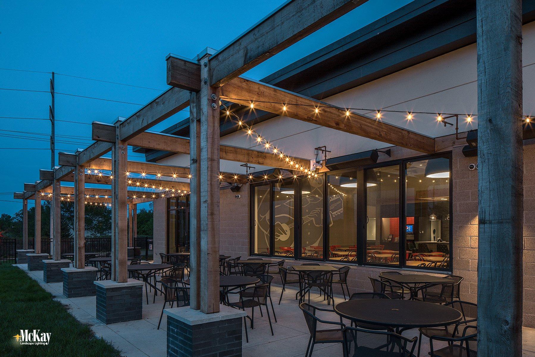 restaurant patio bistro string lighting omaha nebraska La Casa McKay Landscape LightingL 03