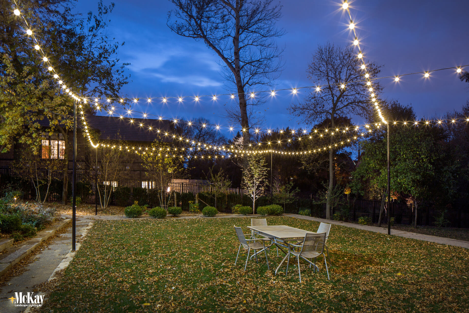 Image of: Backyard Entertaining With Outdoor Bistro String Lights