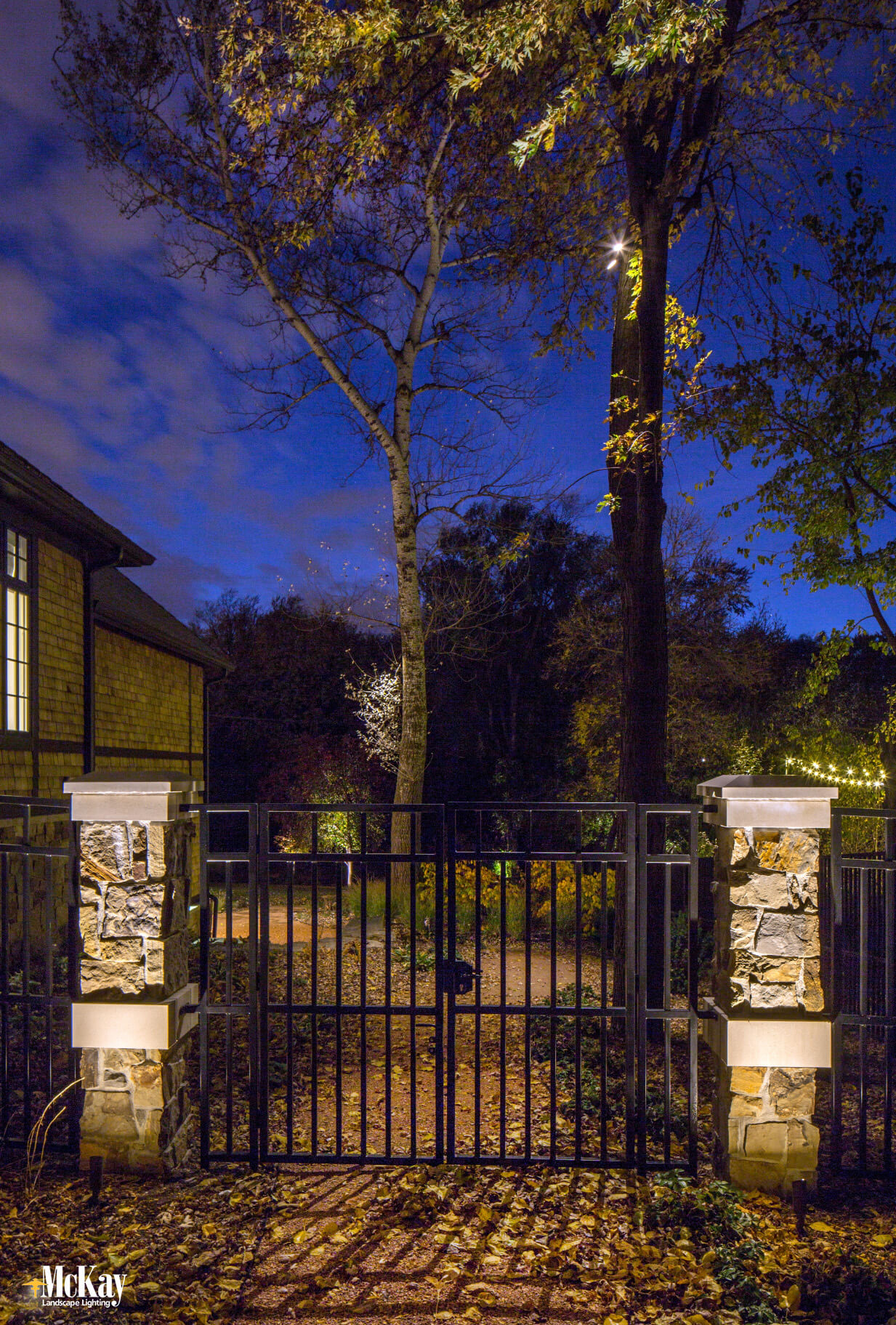 If you have a nearby tree, you could downlight the area. Light shines from above to gently illuminate the gate entrance. It's soft, yet provides ample light to increase visibility, and creates unique and interesting shadows at the same time. Learn more... | McKay Landscape Lighting - Omaha Nebraska