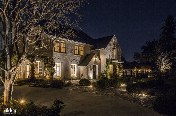 One of our clients wanted something other than the traditional path light fixtures to illuminate the front walkway leading up to their home.