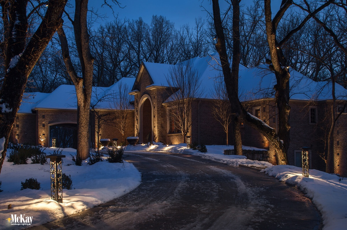 Stylish Driveway Lighting Bollards to Increase Safety and Enhance the Home. | McKay Landscape Lighting, Omaha, Nebraska