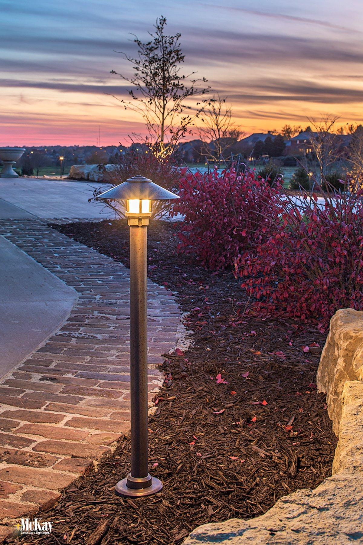 Sleek and Modern Driveway Bollard Lights | McKay Landscape Lighting, Omaha, Nebraska