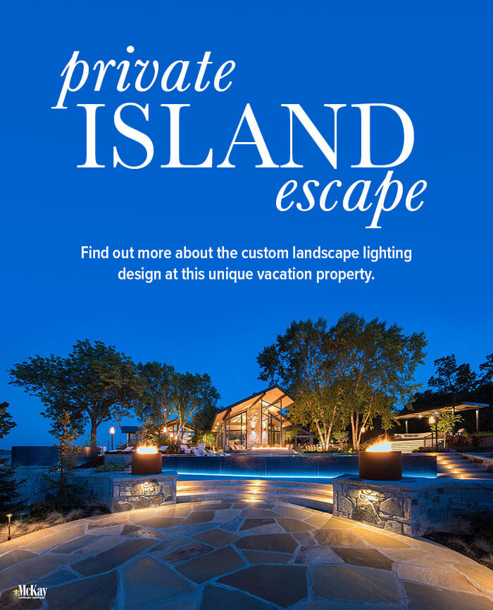 Click to see photos of the landscape lighting design at this dream vacation home tucked away in a secluded lakeside peninsula. | McKay Landscape Lighting, Omaha, Nebraska