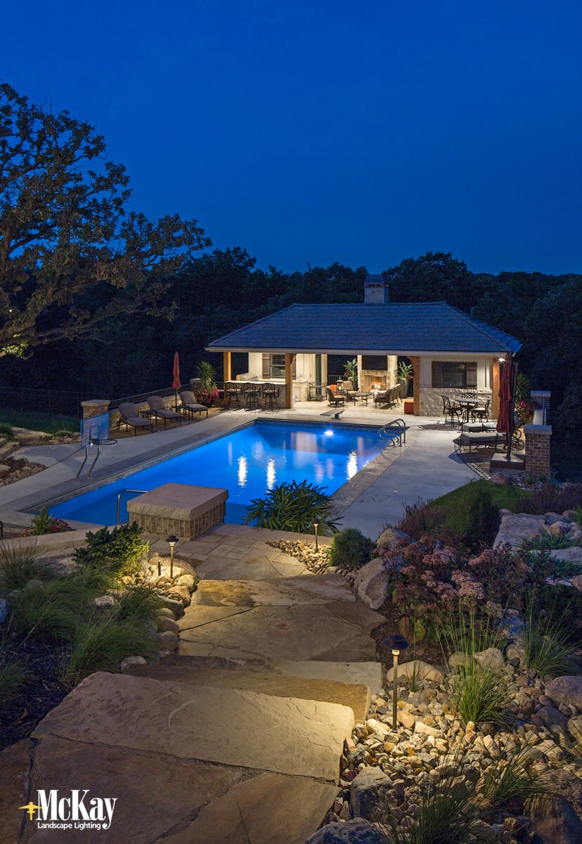 Illuminate Your Pool Deck and Walkways to Increase Safety | McKay Landscape Lighting Omaha Nebraska
