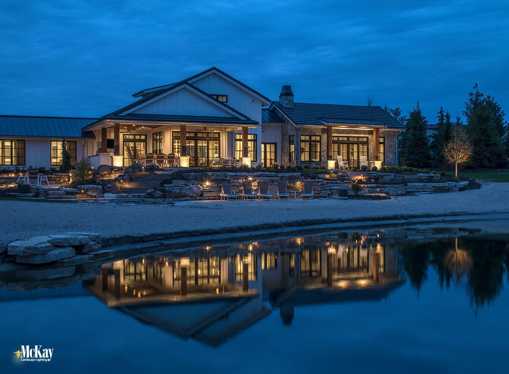 Simple & Elegant Lake House Outdoor Lighting Design Ideas  Bluewater Lake Valley Nebraska McKay Landscape Lighting