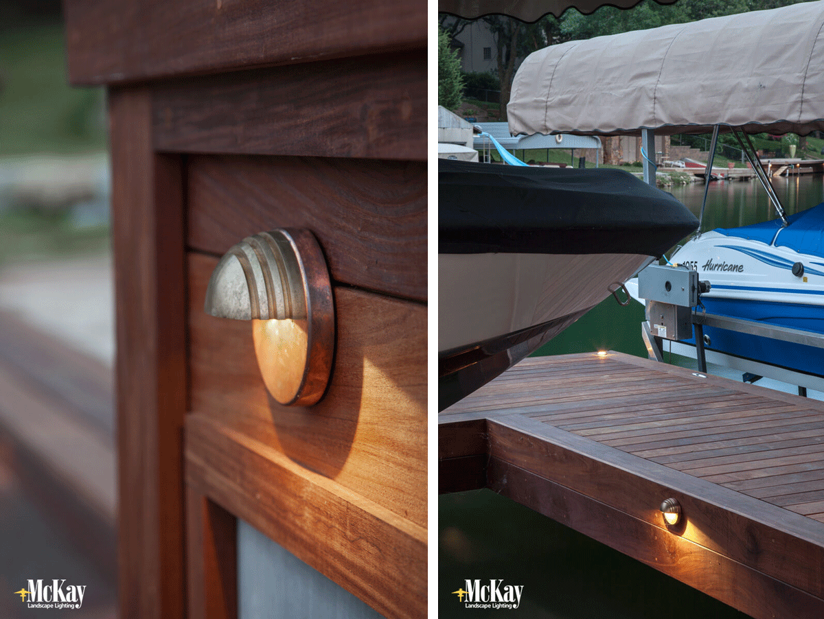 Lighting a boat dock with high-quality fixtures - low voltage landscape lighting - Omaha, Nebraska