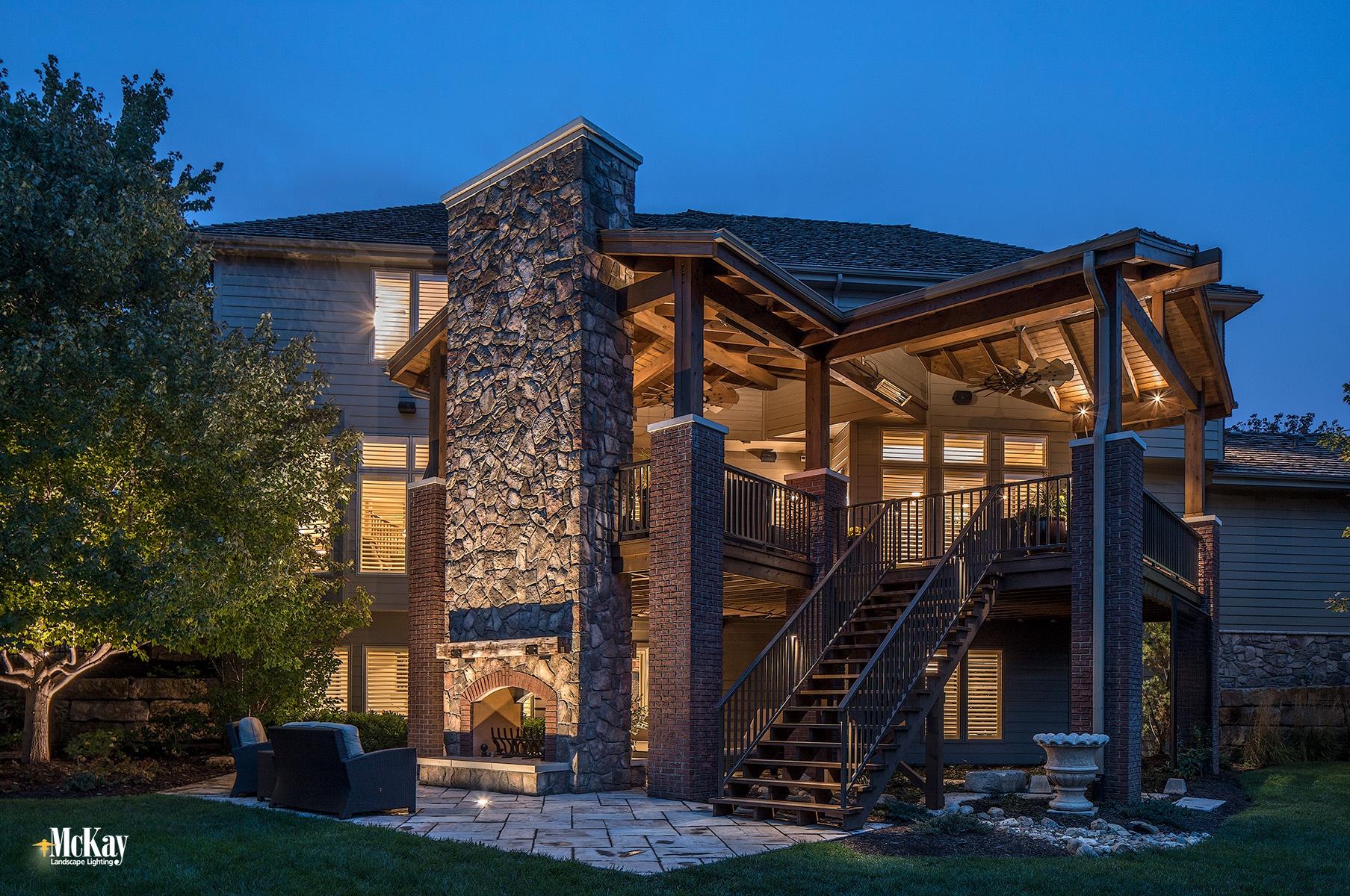 Installing Landscape Lighting to an Outdoor Fireplace Omaha Nebraska   McKay Landscape Lighting