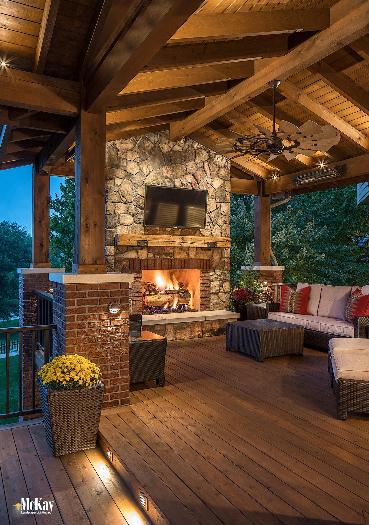 Popular Outdoor Fireplace Lighting Ideas Omaha Nebraska   McKay Landscape Lighting