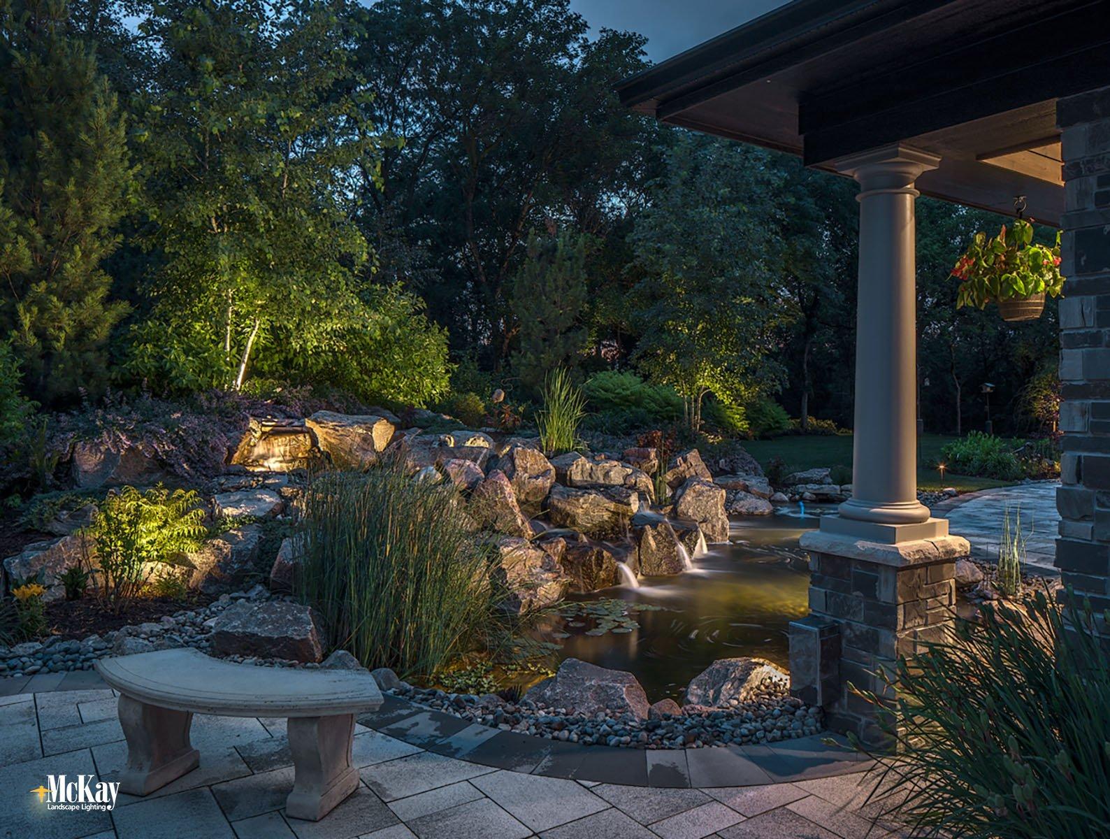 Backyard Pond Lighting Omaha Nebraska McKay Landscape Lighting S 13