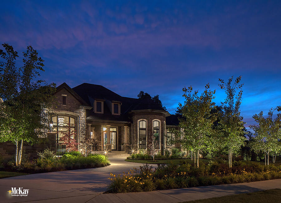 The path leading to the front door of a home is a popular and beneficial area for landscape lighting. Learn about the benefits and gain inspiration with these home entrance path lighting ideas. From traditional to unique, there are photos showing several different styles to inspire you. Read more... | McKay Landscape Lighting Omaha Nebraska