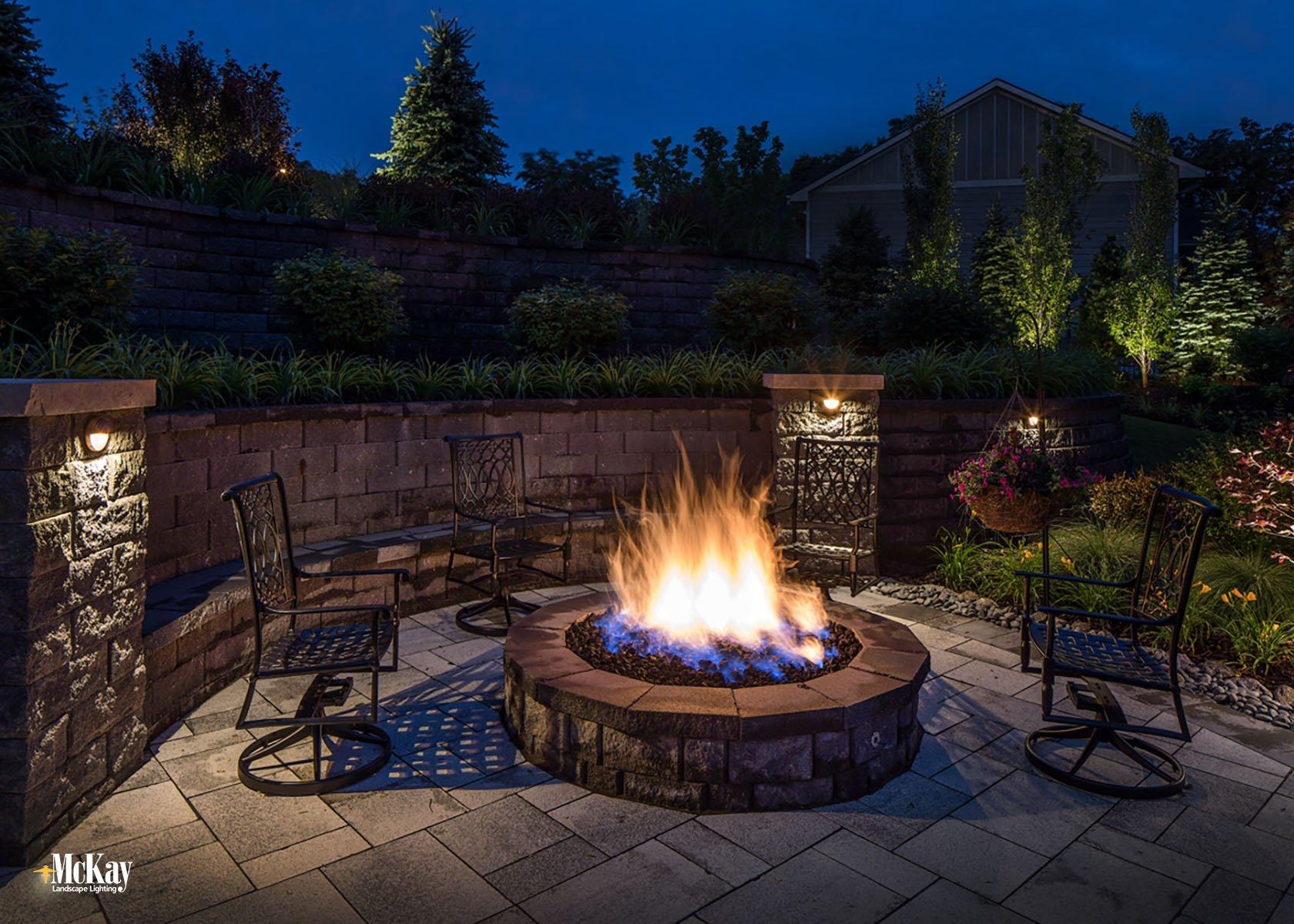 Outdoor Fire Pit Lighting Omaha Nebraska McKay Landscape Lighting S 11