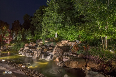 Outdoor Lighting Pond Rock Water Feature Omaha Nebraska McKay Landscape Lighting S 12-1