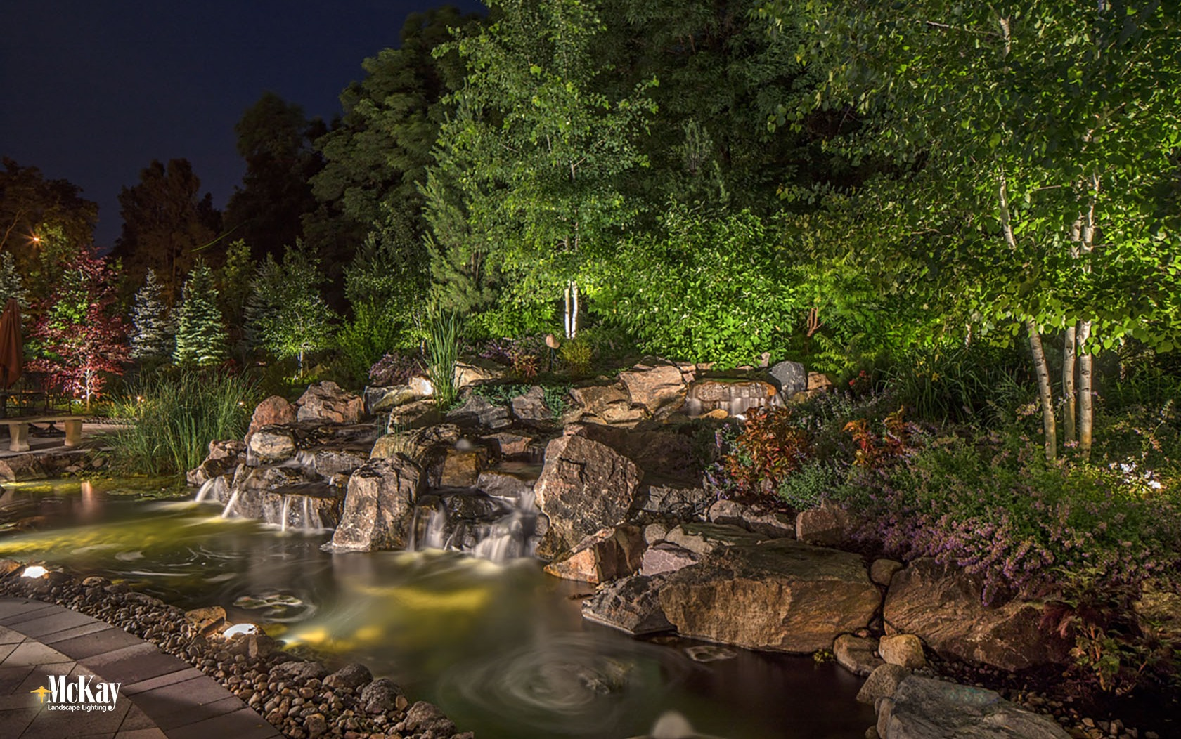 Outdoor Lighting Pond Rock Water Feature Omaha Nebraska McKay Landscape Lighting S 12