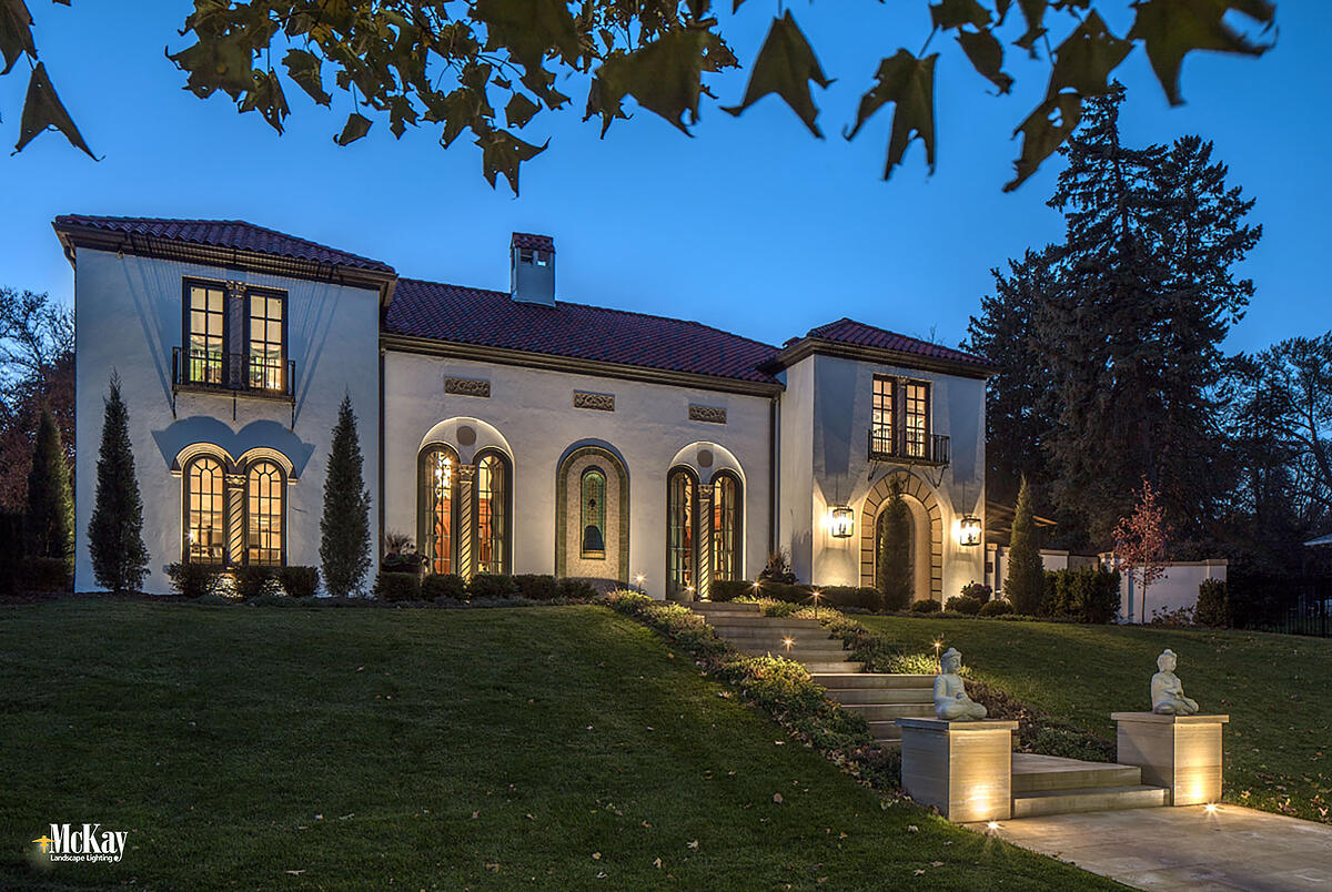 Architectural Landscape Lighting Omaha Nebraska Curb Appeal - Distinction - Home Security | McKay Lighting