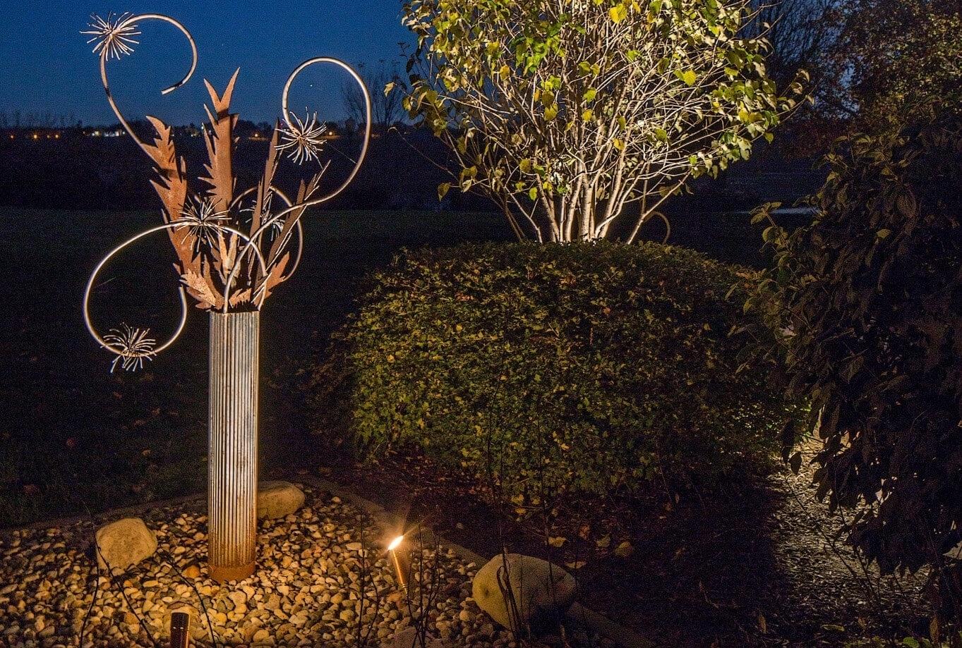 LED Sculpture Lighting Omaha Nebraska McKay Landscape Lighting