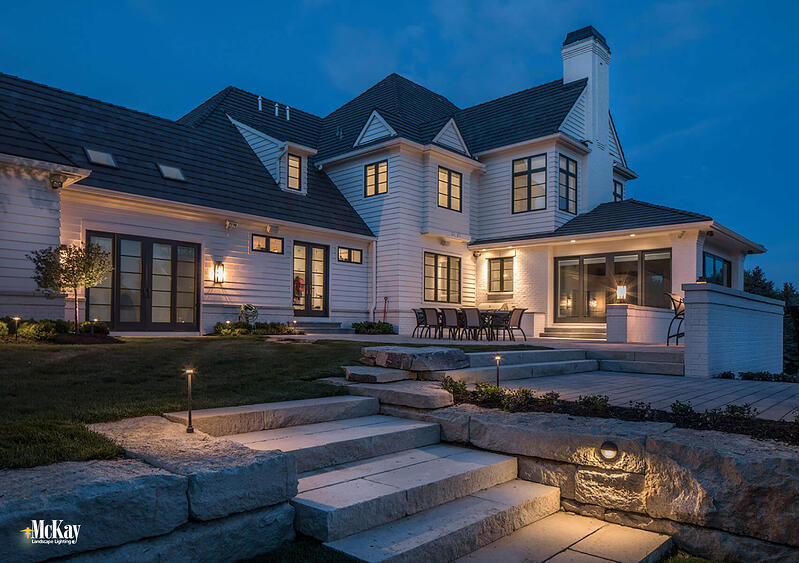 Outdoor Deck & Patio Stair Lighting: Lighting stairs, walkways, and changes in elevation not only adds ambiance but helps prevent trips and falls. Click to see more deck & patio lighting ideas...  McKay Landscape Lighting - Omaha, Nebraska