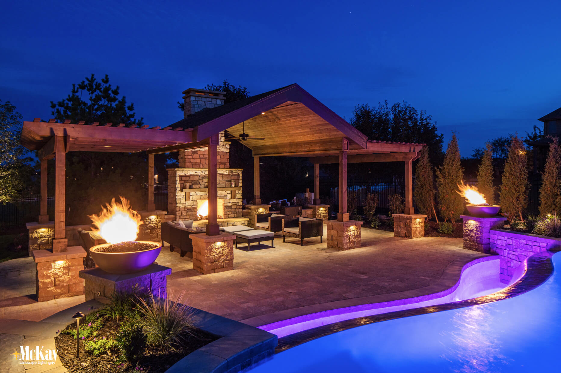 Pergola Lighting Omaha Nebraska McKay Landscape Lighting
