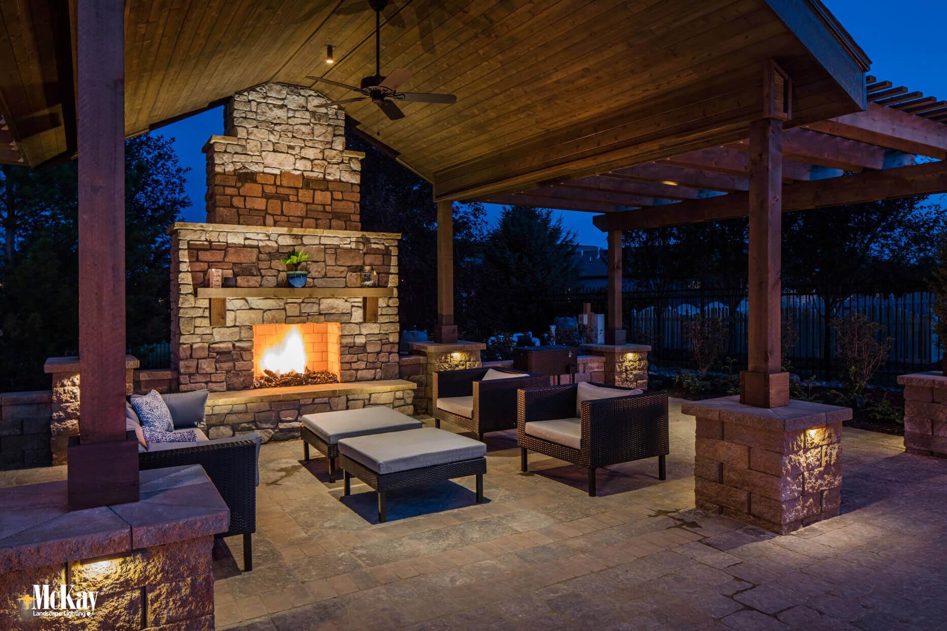 outdoor fireplace landscape lighting omaha nebraska